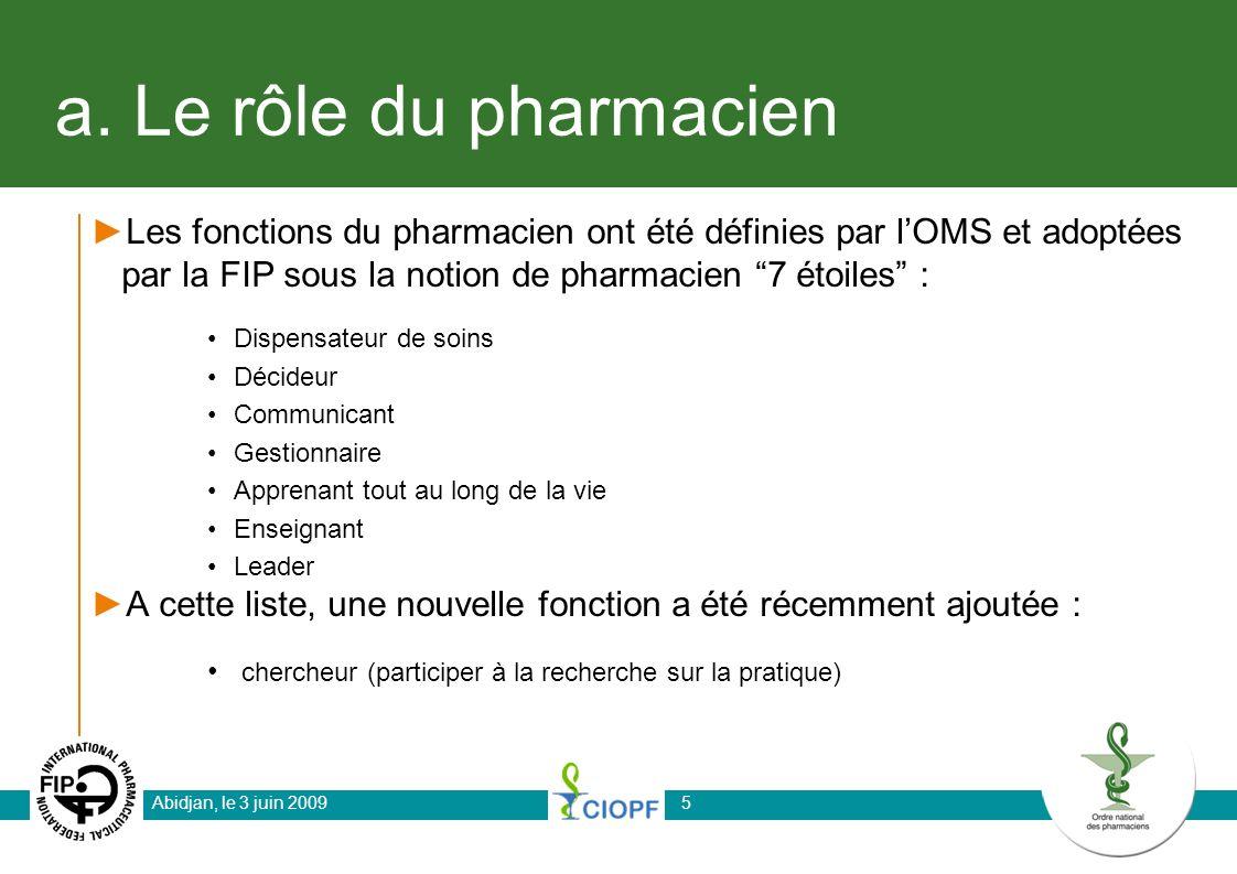 a. Le rôle du pharmacien Les fonctions du pharmacien ont été définies par lOMS et adoptées par la FIP sous la notion de pharmacien 7 étoiles : Dispens