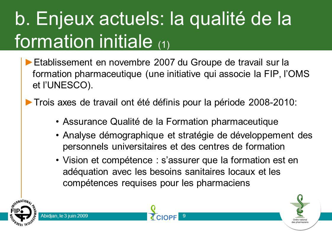 b. Enjeux actuels: la qualité de la formation initiale (1) Etablissement en novembre 2007 du Groupe de travail sur la formation pharmaceutique (une in