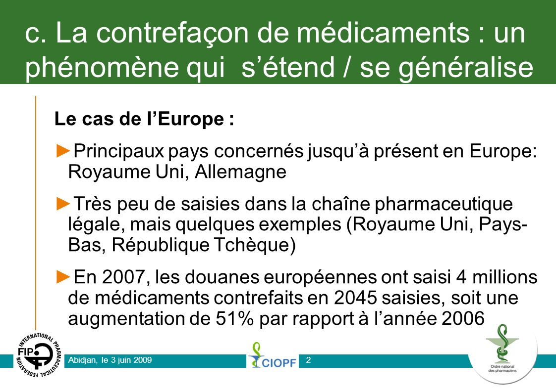 Abidjan, le 3 juin 20092 c. La contrefaçon de médicaments : un phénomène qui sétend / se généralise Le cas de lEurope : Principaux pays concernés jusq