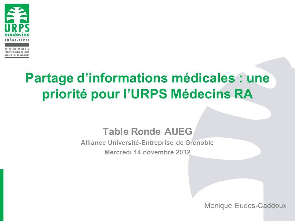 Partage dinformations médicales : une priorité pour lURPS Médecins RA Table Ronde AUEG Alliance Université-Entreprise de Grenoble Mercredi 14 novembre