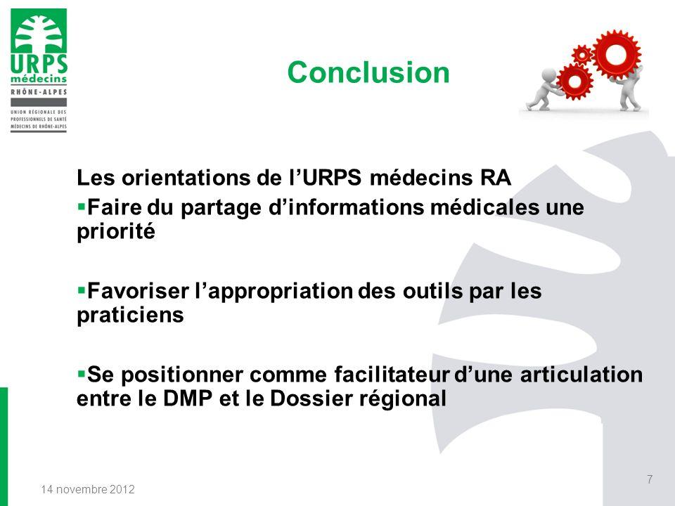 Conclusion Les orientations de lURPS médecins RA Faire du partage dinformations médicales une priorité Favoriser lappropriation des outils par les pra