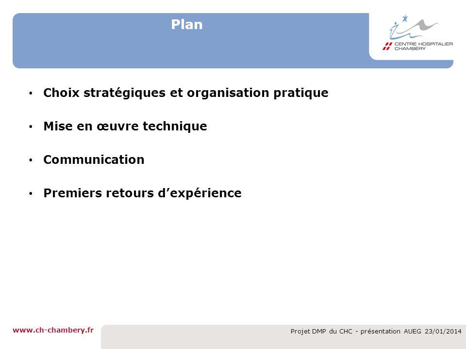 www.ch-chambery.fr Projet DMP du CHC - présentation AUEG 23/01/2014 Plan Choix stratégiques et organisation pratique Mise en œuvre technique Communica