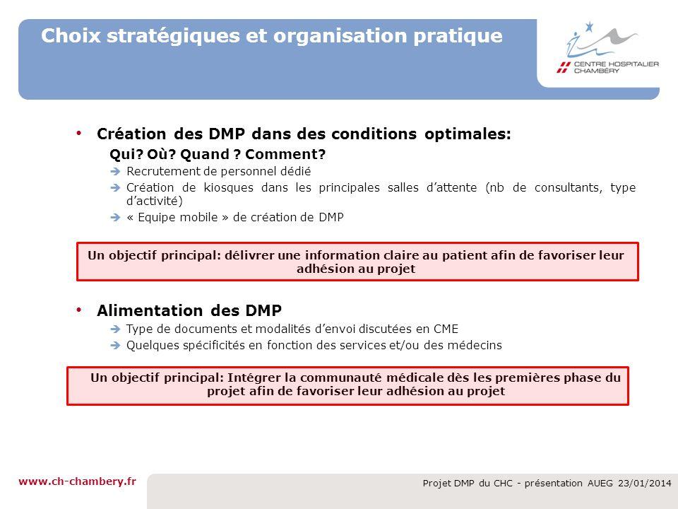 www.ch-chambery.fr Projet DMP du CHC - présentation AUEG 23/01/2014 Choix stratégiques et organisation pratique Création des DMP dans des conditions o