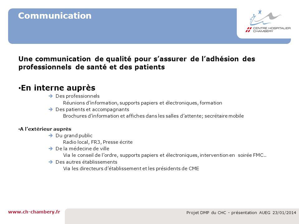 www.ch-chambery.fr Projet DMP du CHC - présentation AUEG 23/01/2014 Communication Une communication de qualité pour sassurer de ladhésion des professi