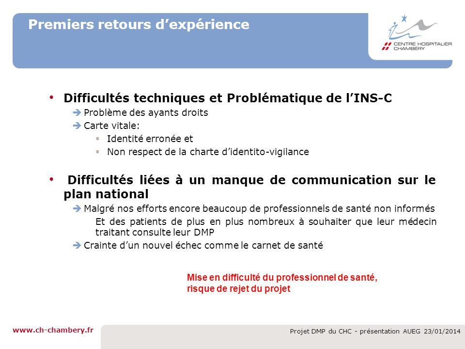 www.ch-chambery.fr Projet DMP du CHC - présentation AUEG 23/01/2014 Premiers retours dexpérience Difficultés techniques et Problématique de lINS-C Pro
