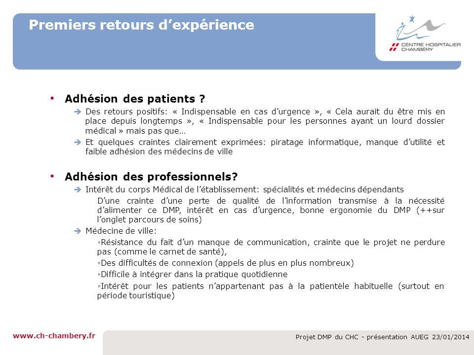 www.ch-chambery.fr Projet DMP du CHC - présentation AUEG 23/01/2014 Premiers retours dexpérience Adhésion des patients ? Des retours positifs: « Indis