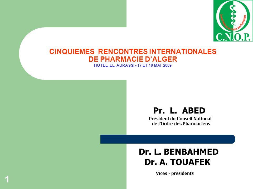 SESSION 1 ORDRE ET POLITIQUE DU MEDICAMENT 2 Evolution et impact de la politique pharmaceutique en Algérie Dr.