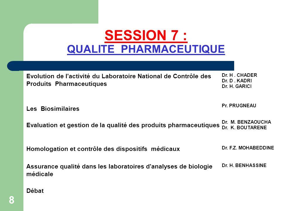 SESSION 7 : QUALITE PHARMACEUTIQUE Evolution de l'activité du Laboratoire National de Contrôle des Produits Pharmaceutiques Dr. H. CHADER Dr. D. KADRI