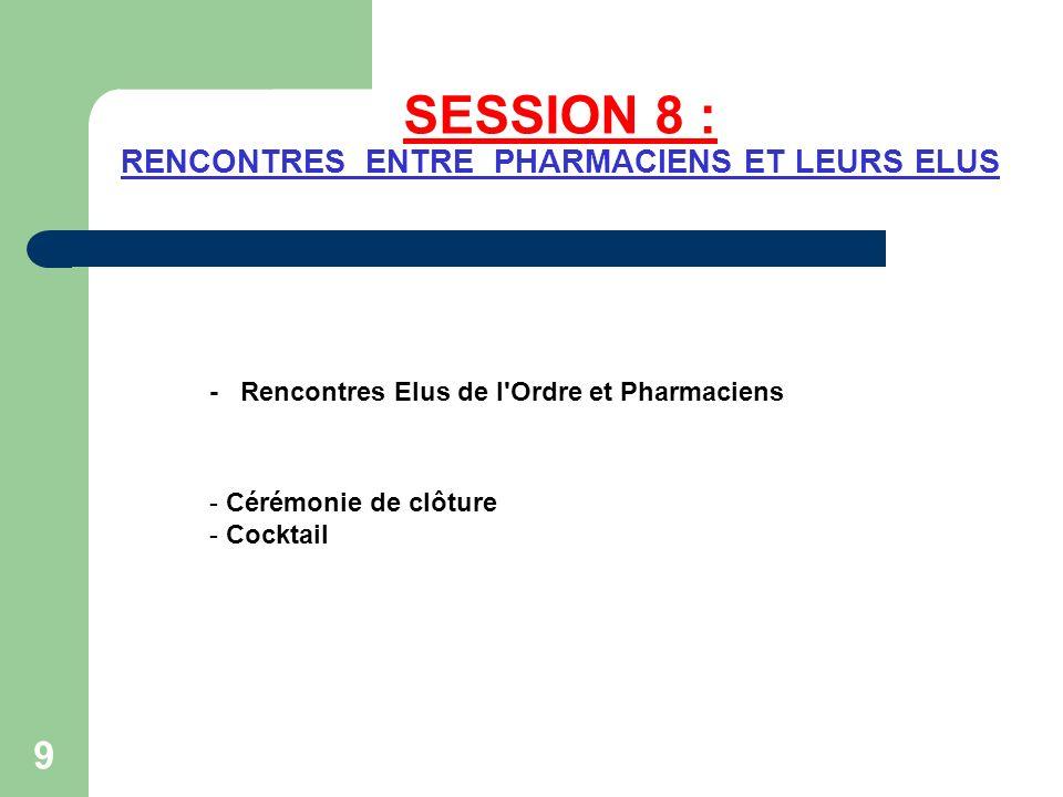 SESSION 8 : RENCONTRES ENTRE PHARMACIENS ET LEURS ELUS - Rencontres Elus de l'Ordre et Pharmaciens - Cérémonie de clôture - Cocktail 9