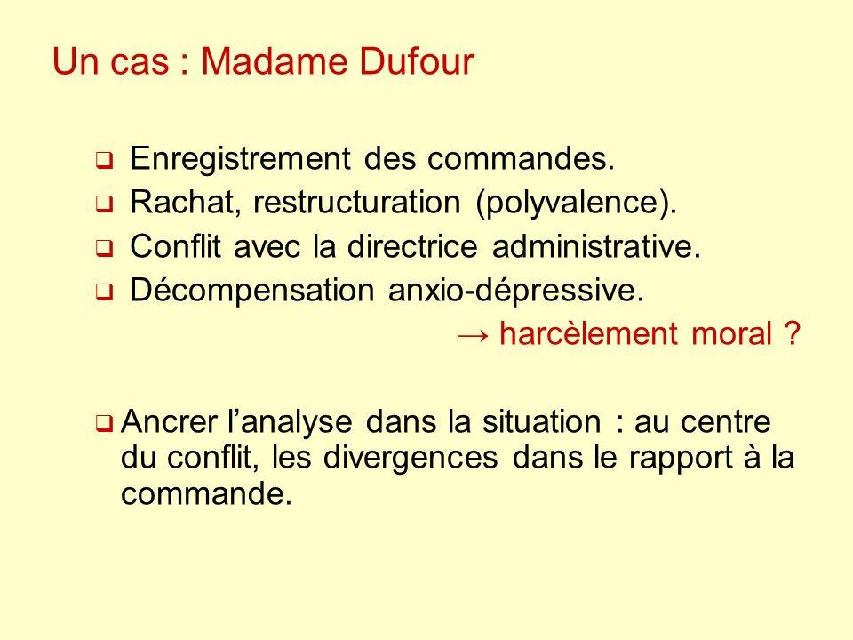 Un cas : Madame Dufour Enregistrement des commandes.