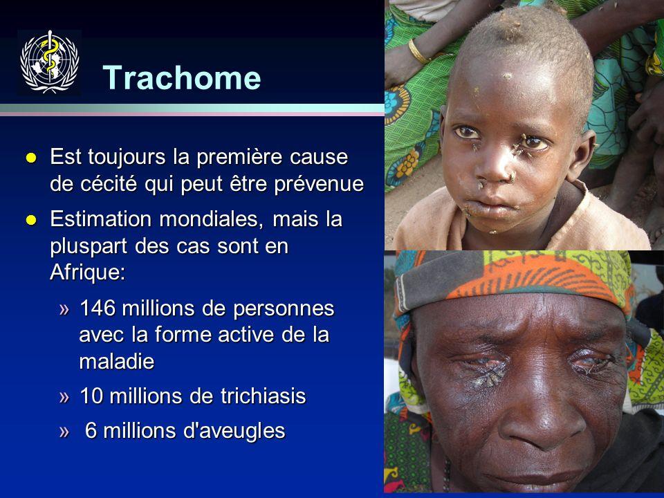 16 Trachome l Est toujours la première cause de cécité qui peut être prévenue l Estimation mondiales, mais la pluspart des cas sont en Afrique: »146 m