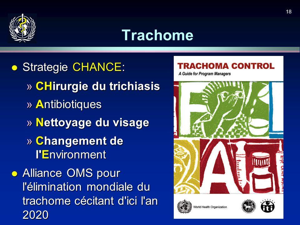 18 Trachome l Strategie CHANCE: »CHirurgie du trichiasis »Antibiotiques »Nettoyage du visage »Changement de l'Environment l Alliance OMS pour l'élimin