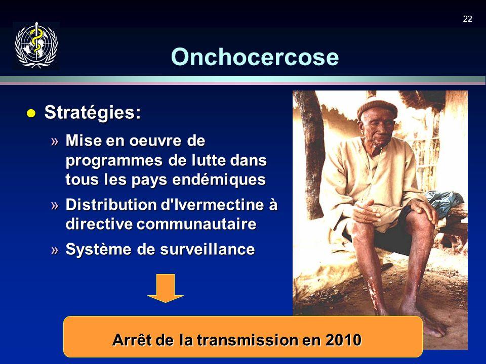 22 Onchocercose l Stratégies: »Mise en oeuvre de programmes de lutte dans tous les pays endémiques »Distribution d'Ivermectine à directive communautai