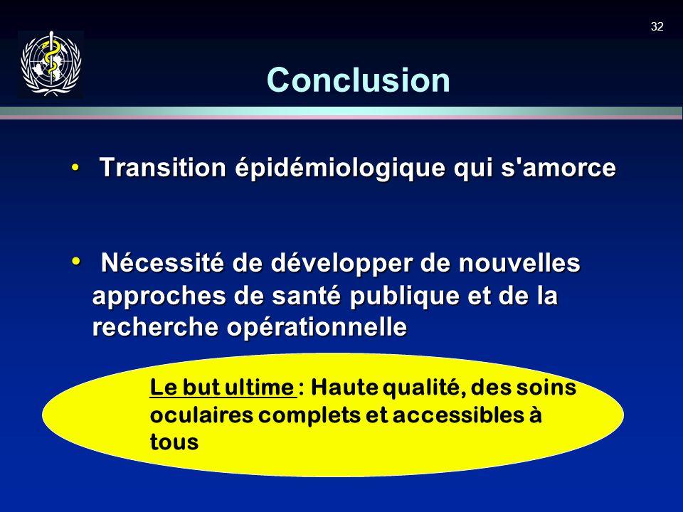 32 Conclusion Transition épidémiologique qui s'amorce Transition épidémiologique qui s'amorce Nécessité de développer de nouvelles approches de santé