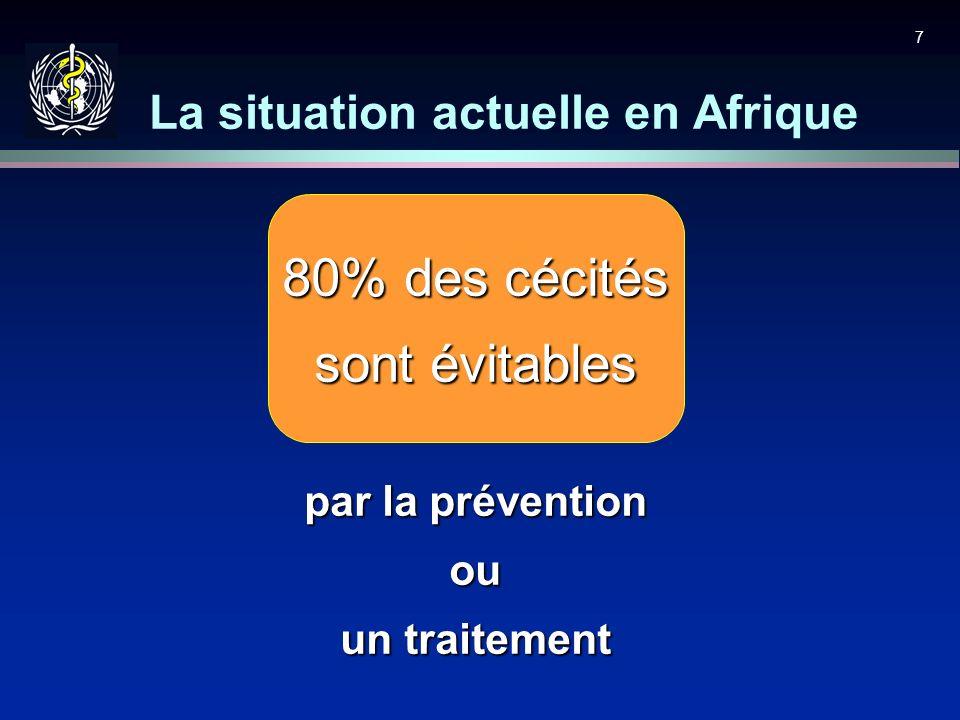 7 80% des cécités sont évitables par la prévention ou un traitement La situation actuelle en Afrique