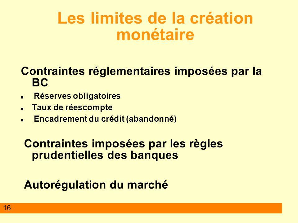 16 Les limites de la création monétaire Contraintes réglementaires imposées par la BC Réserves obligatoires Taux de réescompte Encadrement du crédit (