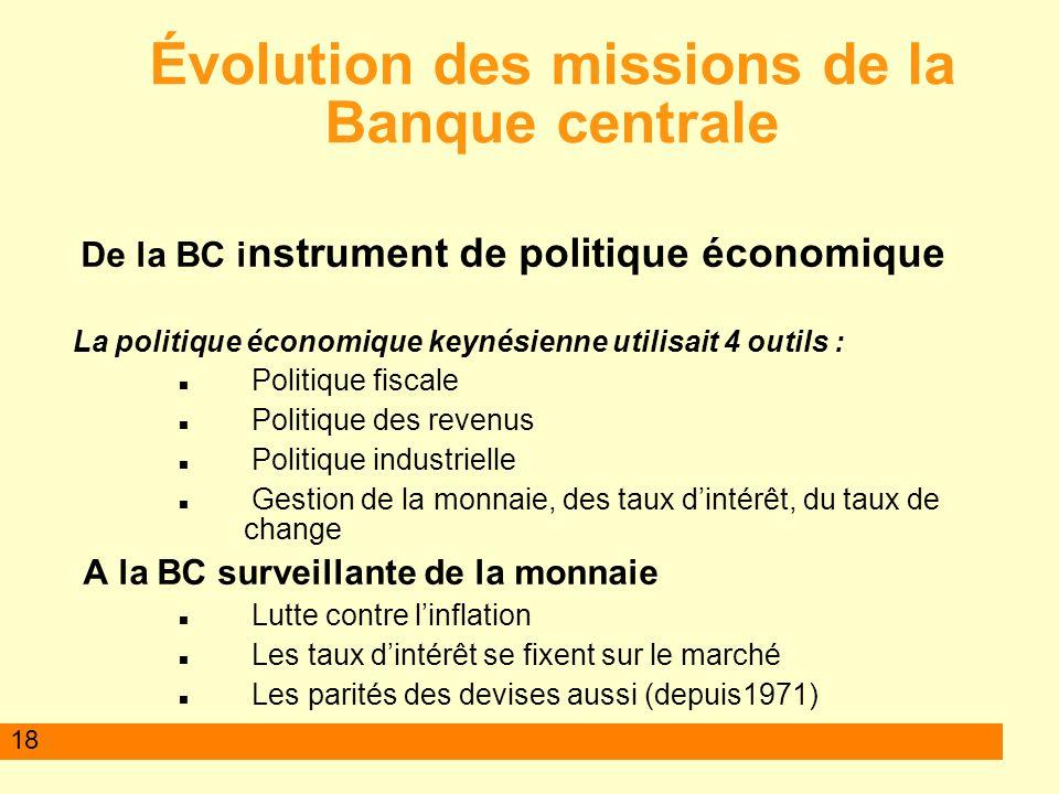 18 Évolution des missions de la Banque centrale De la BC i nstrument de politique économique La politique économique keynésienne utilisait 4 outils :