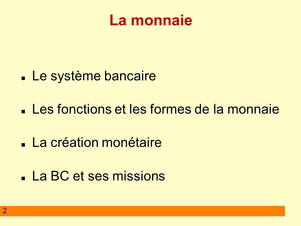 2 La monnaie Le système bancaire Les fonctions et les formes de la monnaie La création monétaire La BC et ses missions