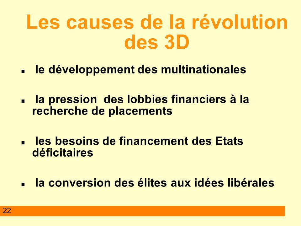 22 Les causes de la révolution des 3D le développement des multinationales la pression des lobbies financiers à la recherche de placements les besoins de financement des Etats déficitaires la conversion des élites aux idées libérales