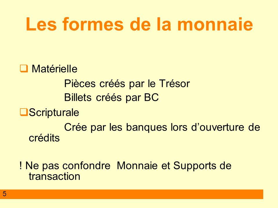 5 Les formes de la monnaie Matérielle Pièces créés par le Trésor Billets créés par BC Scripturale Crée par les banques lors douverture de crédits ! Ne