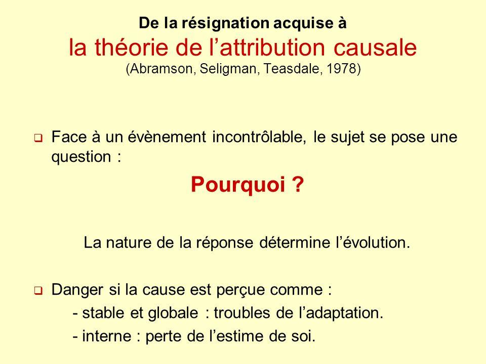 De la résignation acquise à la théorie de lattribution causale (Abramson, Seligman, Teasdale, 1978) Face à un évènement incontrôlable, le sujet se pose une question : Pourquoi .