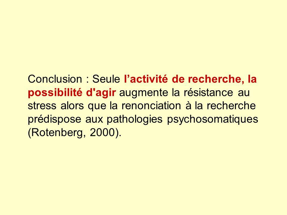 Conclusion : Seule lactivité de recherche, la possibilité d agir augmente la résistance au stress alors que la renonciation à la recherche prédispose aux pathologies psychosomatiques (Rotenberg, 2000).