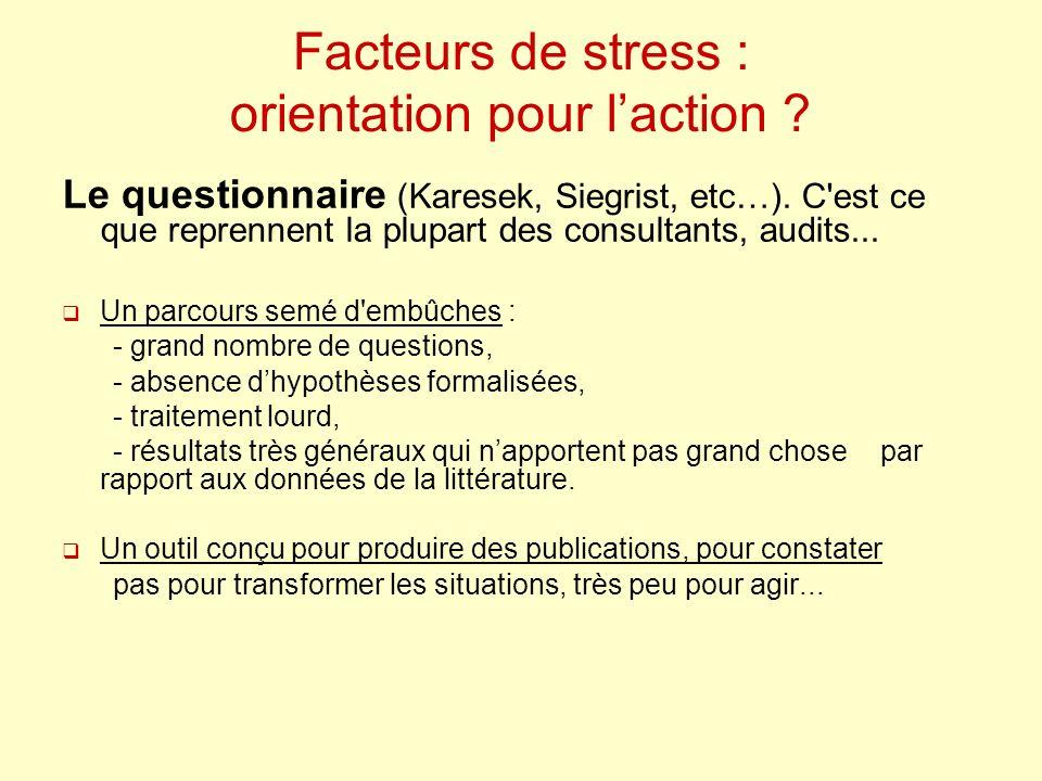 Facteurs de stress : orientation pour laction ? Le questionnaire (Karesek, Siegrist, etc…). C'est ce que reprennent la plupart des consultants, audits