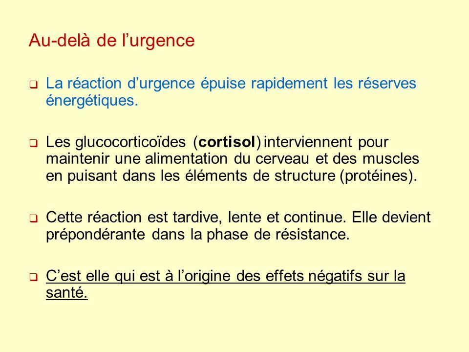 Au-delà de lurgence La réaction durgence épuise rapidement les réserves énergétiques. Les glucocorticoïdes (cortisol) interviennent pour maintenir une