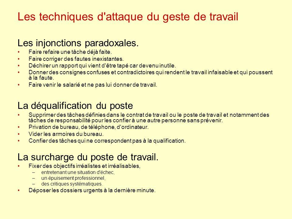 Les techniques d attaque du geste de travail Les injonctions paradoxales.