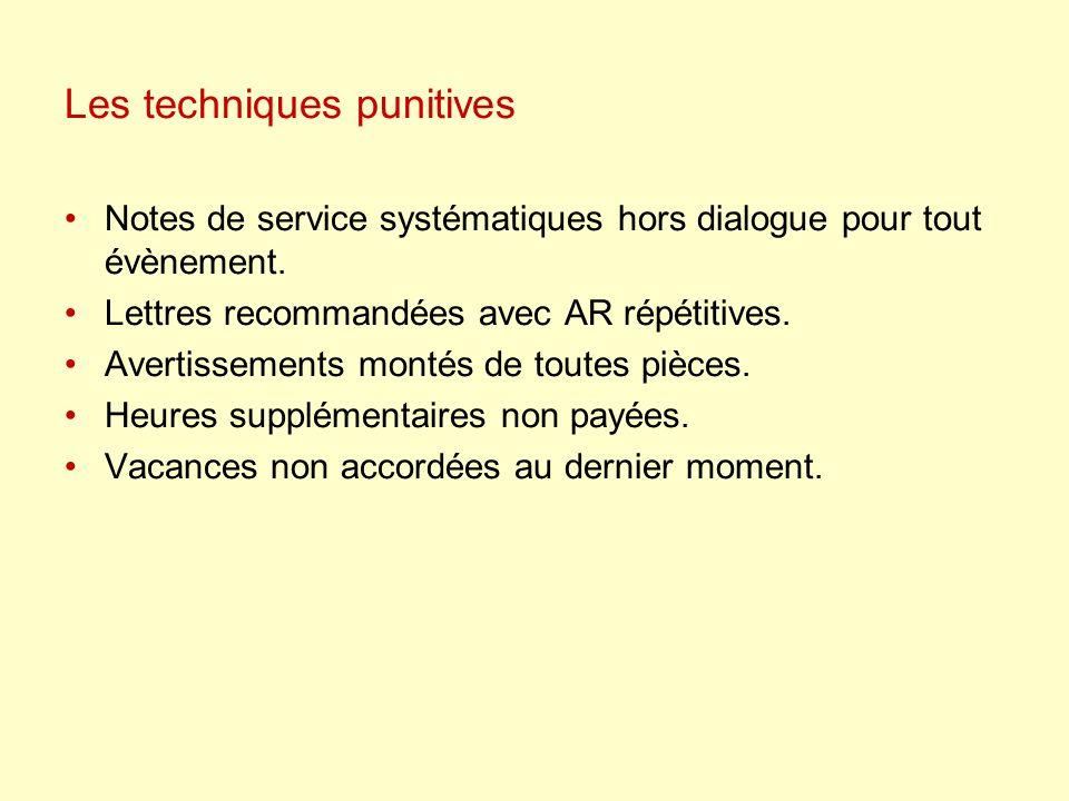Les techniques punitives Notes de service systématiques hors dialogue pour tout évènement. Lettres recommandées avec AR répétitives. Avertissements mo