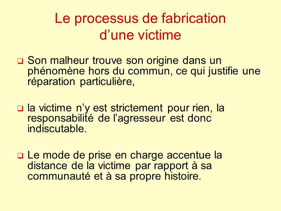 Le processus de fabrication dune victime Son malheur trouve son origine dans un phénomène hors du commun, ce qui justifie une réparation particulière, la victime ny est strictement pour rien, la responsabilité de lagresseur est donc indiscutable.
