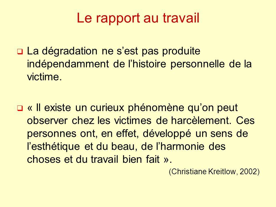 Le rapport au travail La dégradation ne sest pas produite indépendamment de lhistoire personnelle de la victime. « Il existe un curieux phénomène quon