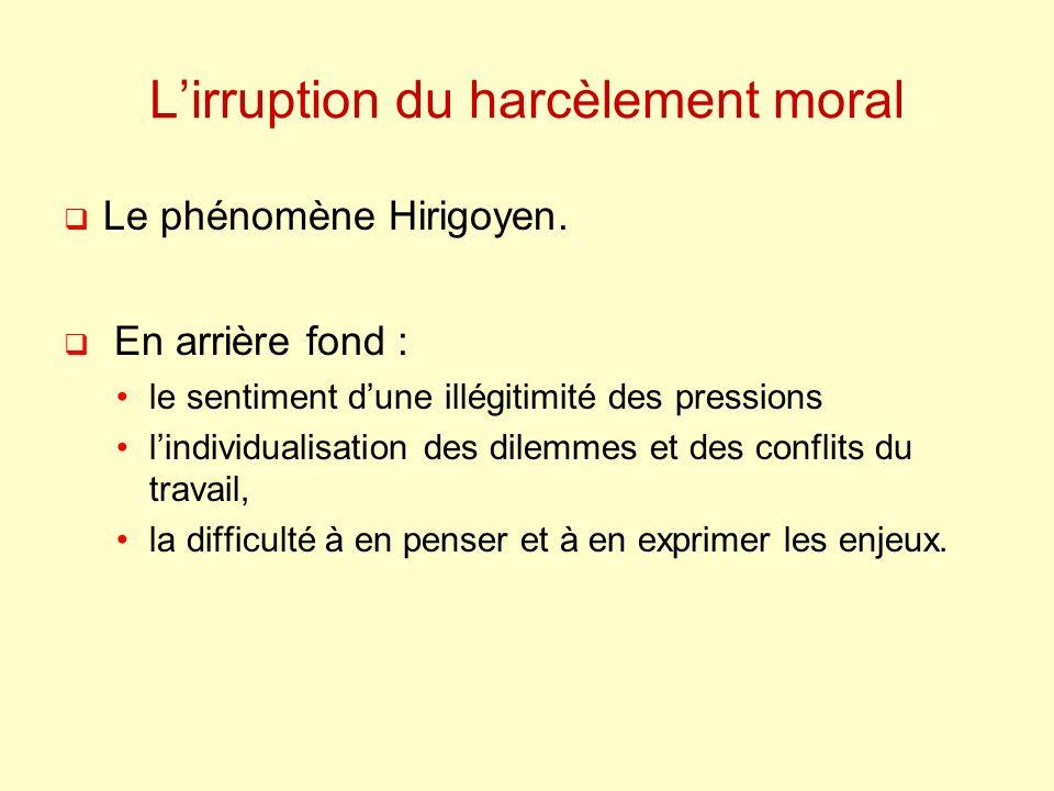 Lirruption du harcèlement moral Le phénomène Hirigoyen. En arrière fond : le sentiment dune illégitimité des pressions lindividualisation des dilemmes