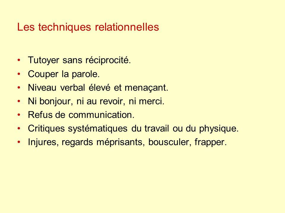 Les techniques relationnelles Tutoyer sans réciprocité.