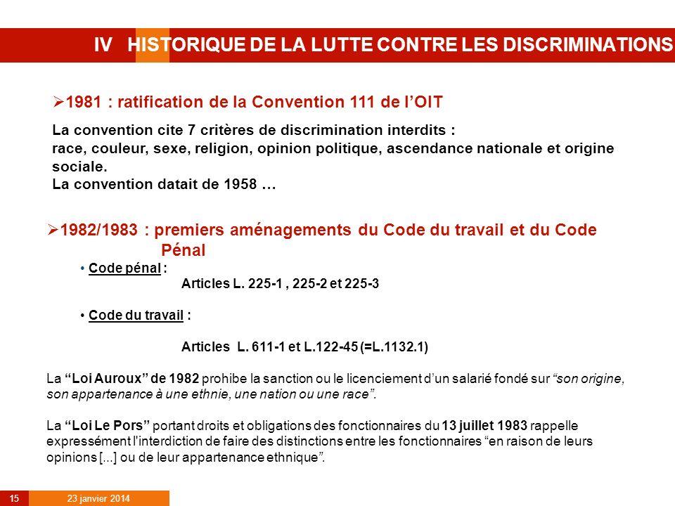 23 janvier 2014 15 IV HISTORIQUE DE LA LUTTE CONTRE LES DISCRIMINATIONS 1981 : ratification de la Convention 111 de lOIT La convention cite 7 critères