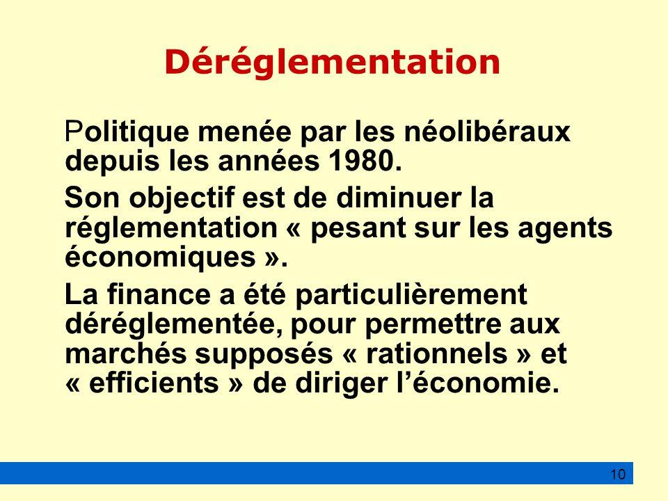 Déréglementation Politique menée par les néolibéraux depuis les années 1980.