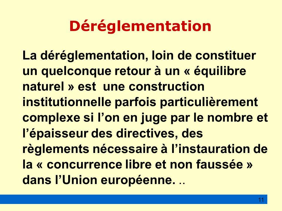 Déréglementation La déréglementation, loin de constituer un quelconque retour à un « équilibre naturel » est une construction institutionnelle parfois particulièrement complexe si lon en juge par le nombre et lépaisseur des directives, des règlements nécessaire à linstauration de la « concurrence libre et non faussée » dans lUnion européenne...