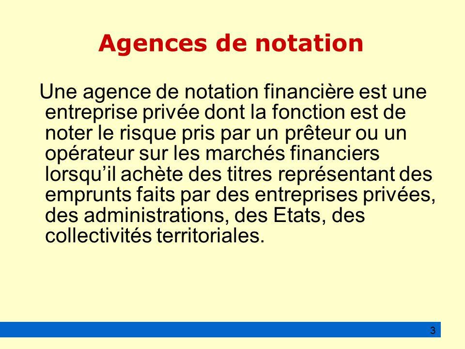 Agences de notation Une agence de notation financière est une entreprise privée dont la fonction est de noter le risque pris par un prêteur ou un opérateur sur les marchés financiers lorsquil achète des titres représentant des emprunts faits par des entreprises privées, des administrations, des Etats, des collectivités territoriales.