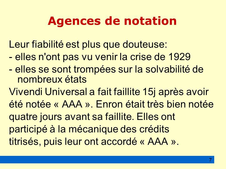 Agences de notation Leur fiabilité est plus que douteuse: - elles n ont pas vu venir la crise de 1929 - elles se sont trompées sur la solvabilité de nombreux états Vivendi Universal a fait faillite 15j après avoir été notée « AAA ».