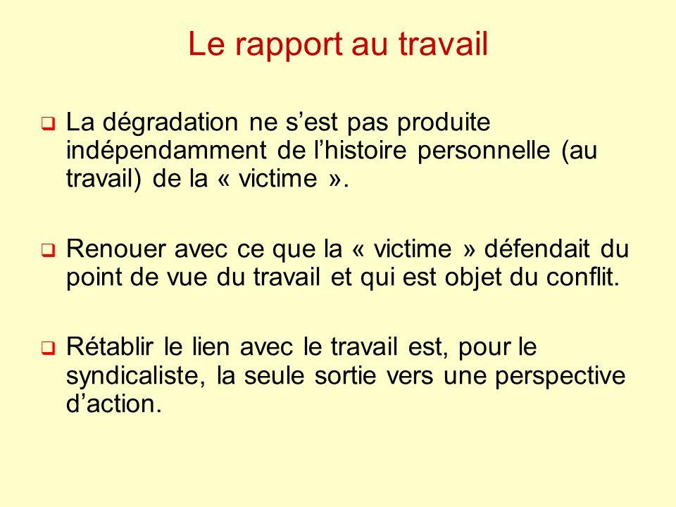 Le rapport au travail La dégradation ne sest pas produite indépendamment de lhistoire personnelle (au travail) de la « victime ». Renouer avec ce que