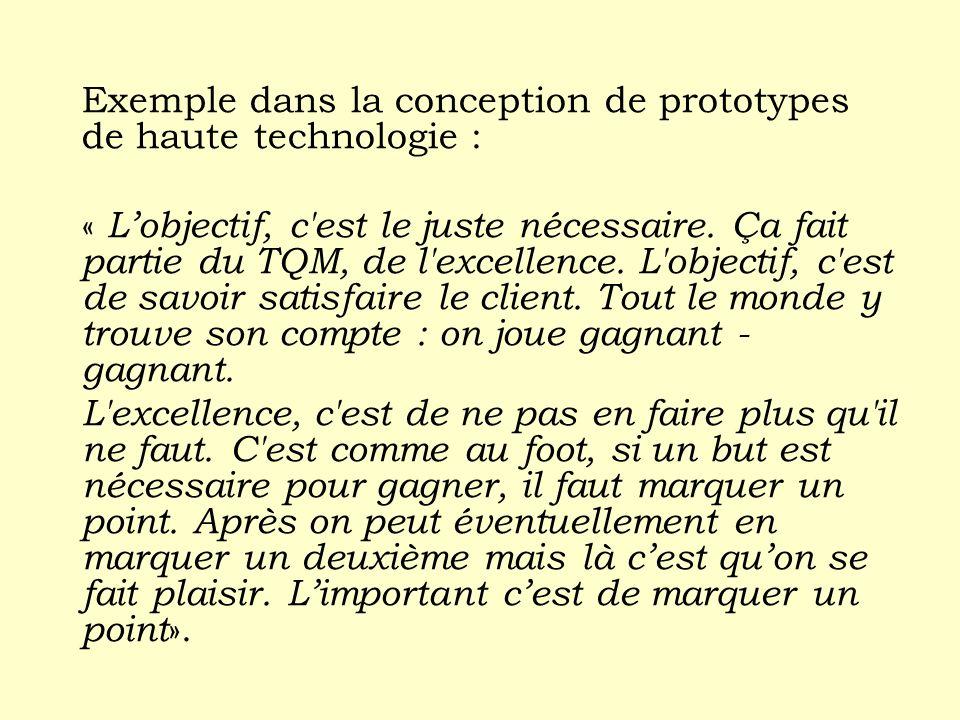 Exemple dans la conception de prototypes de haute technologie : « Lobjectif, c'est le juste nécessaire. Ça fait partie du TQM, de l'excellence. L'obje