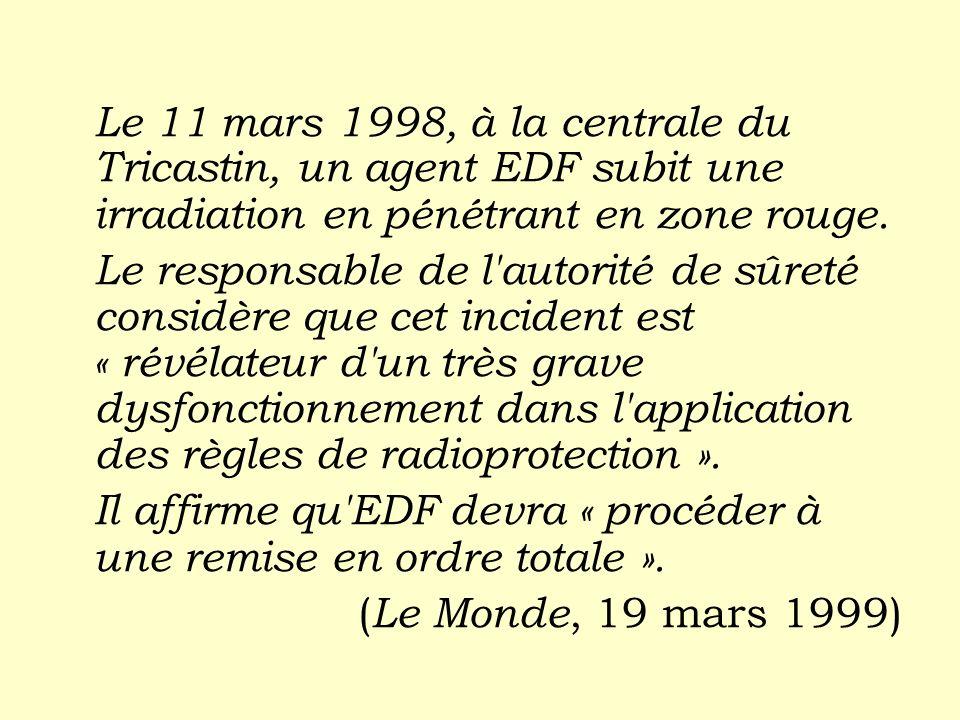 Le 11 mars 1998, à la centrale du Tricastin, un agent EDF subit une irradiation en pénétrant en zone rouge. Le responsable de l'autorité de sûreté con