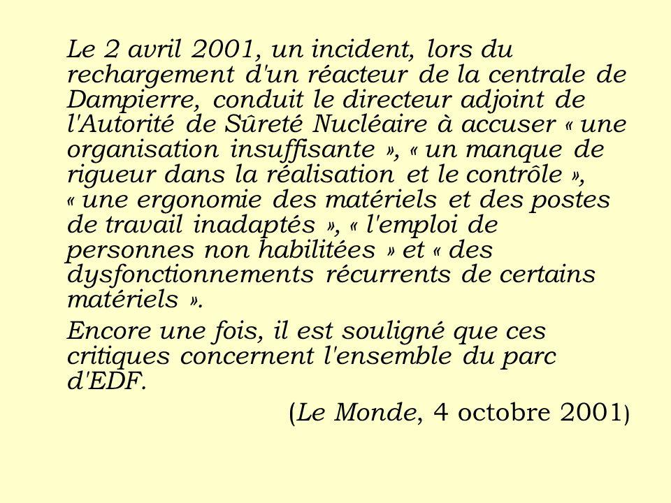 Le 2 avril 2001, un incident, lors du rechargement d'un réacteur de la centrale de Dampierre, conduit le directeur adjoint de l'Autorité de Sûreté Nuc