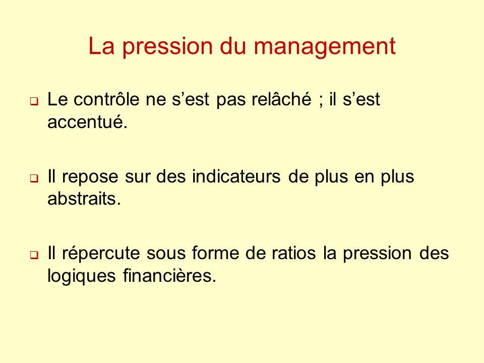La pression du management Le contrôle ne sest pas relâché ; il sest accentué. Il repose sur des indicateurs de plus en plus abstraits. Il répercute so