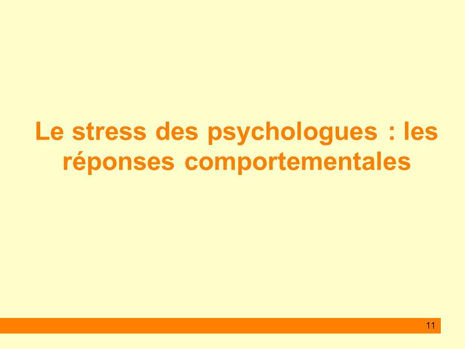 11 Le stress des psychologues : les réponses comportementales