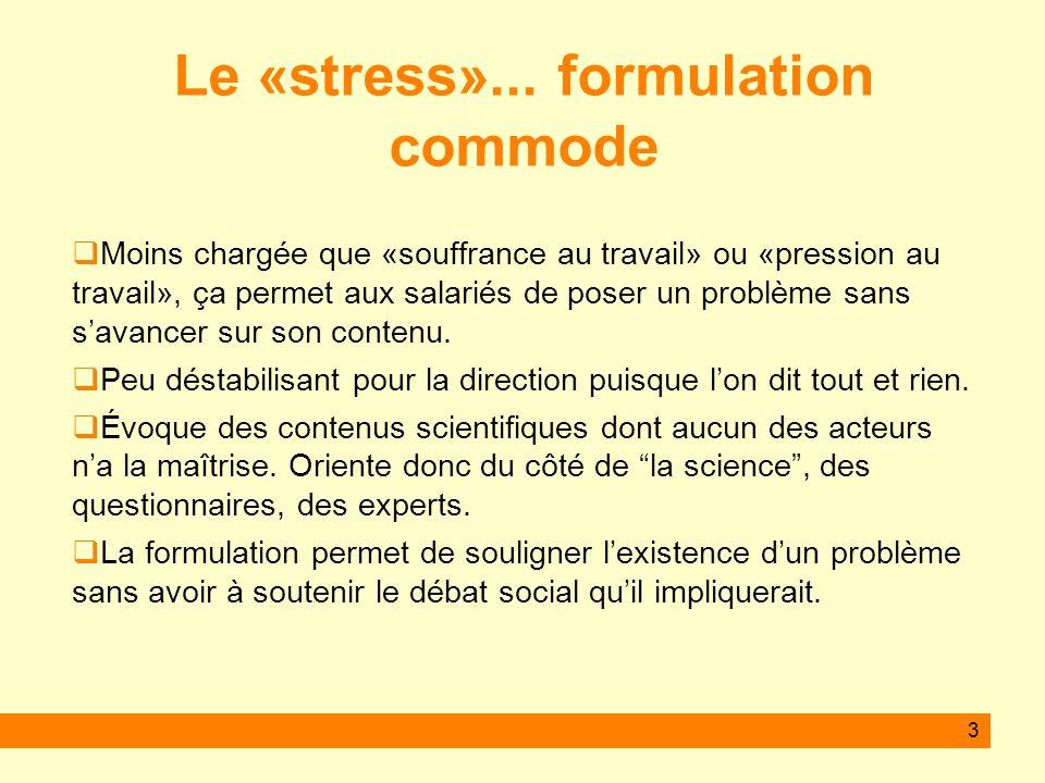 4 3 grandes approches du stress Le stress des biologistes : les réactions de lorganisme Le stress des psychologues : les réponses comportementales Le stress des épidémiologistes : les facteurs de stress pour une population