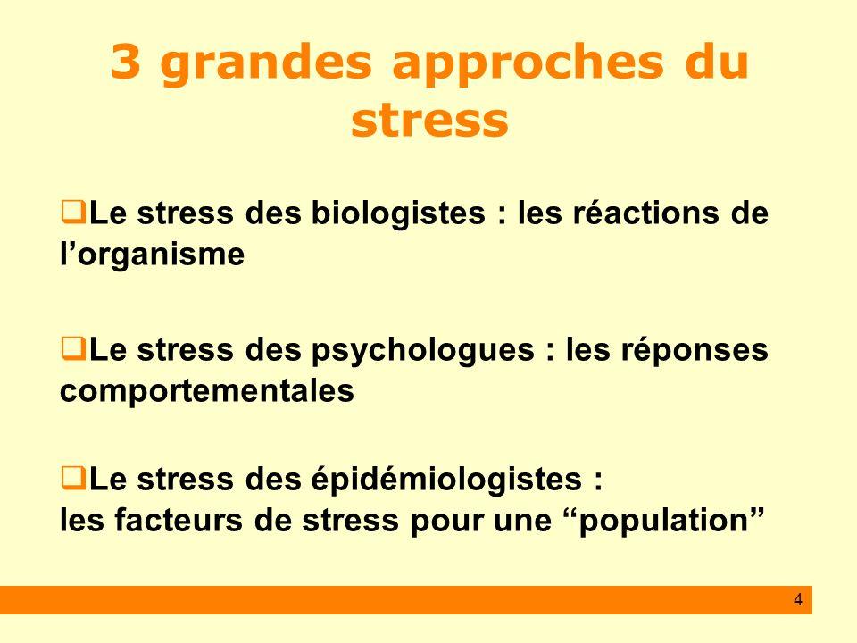 4 3 grandes approches du stress Le stress des biologistes : les réactions de lorganisme Le stress des psychologues : les réponses comportementales Le