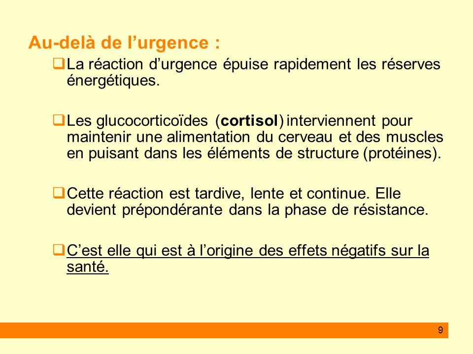9 Au-delà de lurgence : La réaction durgence épuise rapidement les réserves énergétiques. Les glucocorticoïdes (cortisol) interviennent pour maintenir