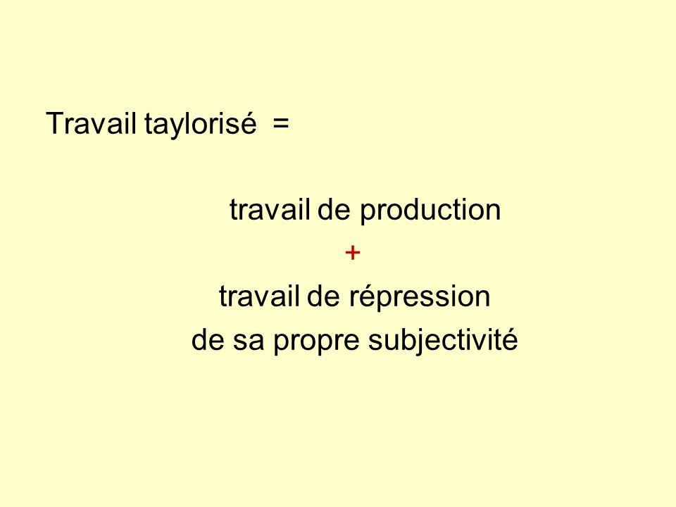 Travail taylorisé = travail de production + travail de répression de sa propre subjectivité