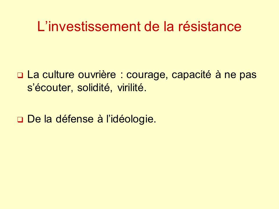 Linvestissement de la résistance La culture ouvrière : courage, capacité à ne pas sécouter, solidité, virilité.
